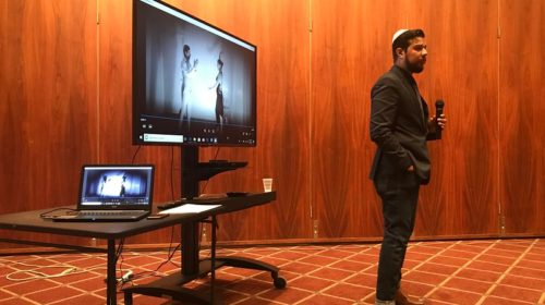 Jonatas Chimen speaking last month; photo by Shirley Sztajnman