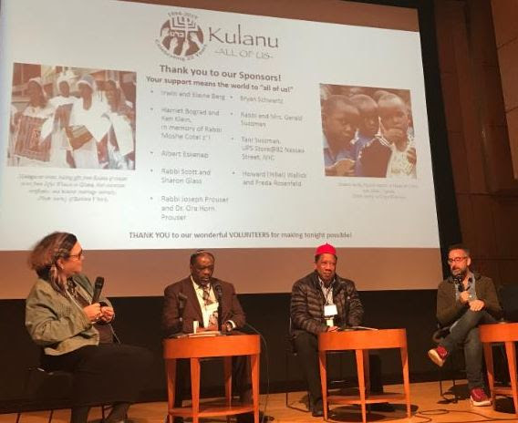 "Kulanu hosted our first ever Jewish Africa Film Festival. The two evening event was held on January 28 and 29, 2019 at the Center for Jewish History in New York City, as a companion program to the Jewish Africa Conference of the American Sephardi Federation and Association Mimouna. The featured panelists included film makers and leaders of the Jewish communities in Ghana, Uganda, Madagascar, and Nigeria, which were featured in the four films. The photo above shows the moderator, Boni Nathan Sussman, Kulanu's vice president, with panelists: Rabbi Capers Funnye, Kulanu board member, chief rabbi of the Israelite Board of Rabbis, rabbinic advisor to several Jewish communities in Nigeria, Remy Ilona, Igbo scholar and author, Ph.D. student at University of California at Riverside, and Jeff Lieberman, filmmaker. ""What this conference is doing is that mainstream Judaism is beginning to notice them,"" shared Boni Nathan Sussman, Kulanu's vice president. ""This is a huge accomplishment and a huge gift to be seen and spoken about in the same breath as they do North African Jews because for the most part North African Judaism really had very little to do with newly emerging communities. "" Missed the Jewish Africa Film Festival? Read the news article ""African Jewish communities get some mainstream recognition after years on the margins"" from the JTA by Josefin Dolsten and watch the Facebook live videos of the panel discussions."