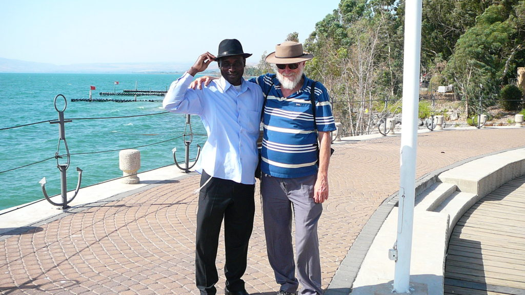 Friends. Serge Etele and Menachem Kuchar in Israel (Photo by Enosh Keki)