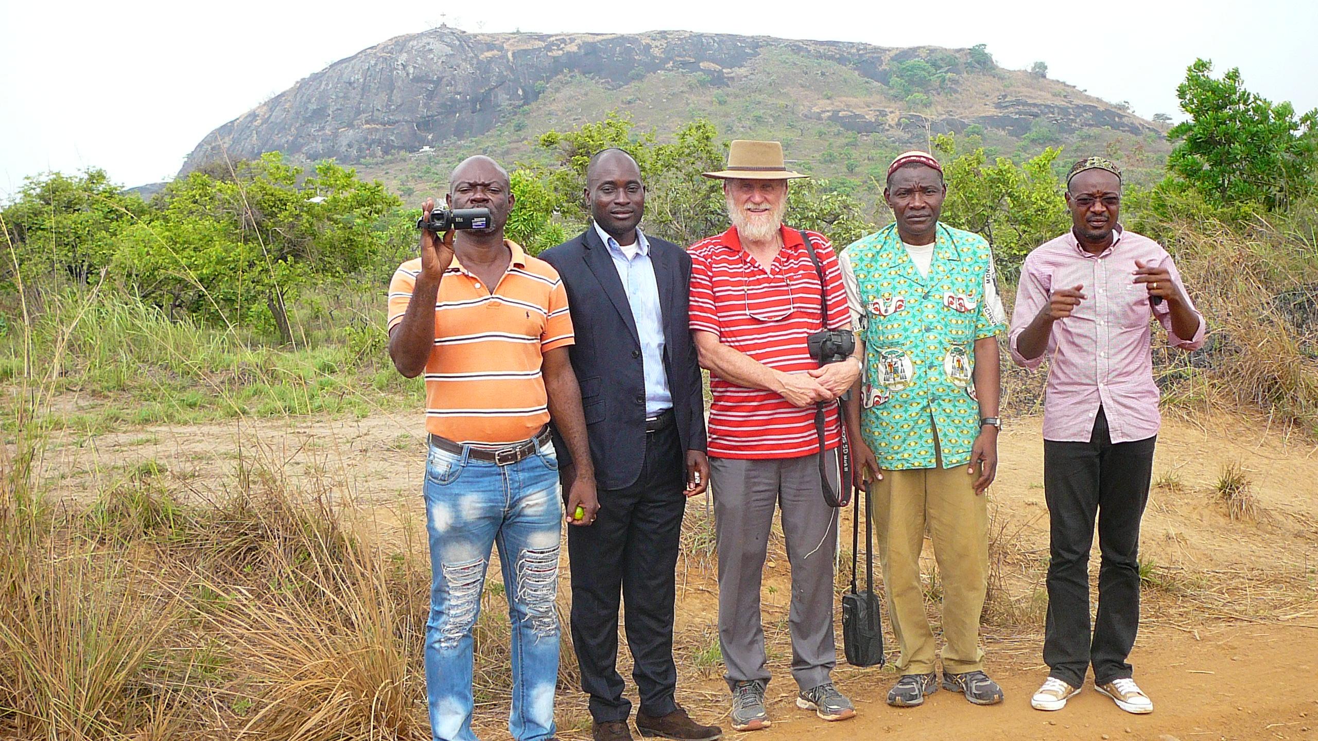 Near the Ngok Lituba hill. From Left: Frederick Ndawo, Serge Etele, Menachem Kuchar, Mr Song, Abia Viany (Photo courtesy of Serge Etele)