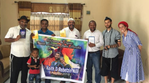 Keith and Nili are welcomed by the Papua, Indonesia community.