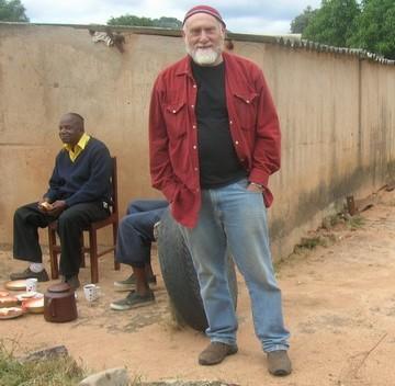 Sandy Leeder in the village of Mapakomhere, Zimbabwe Photo courtesy of Sandy Leeder